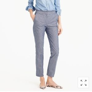 J. Crew Chambray Ruffle Cropped Pants